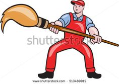 Illustration of an artist painter standing with legs apart holding a giant paintbrush set on isolated white background done in cartoon style. #painter #cartoon #illustration