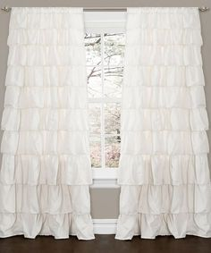 Ivory Ruffle Window Curtain Panel