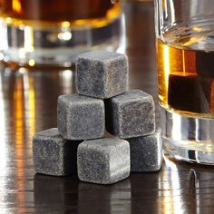 Freezable, washable, reusable whisky rocks made from natural soapstone Simply chill in your freezer or on ice for at least 2 hours Add to whiskey to lower the temperature without dilution Gift boxed as a set of nine whiskey stones Granite, Soapstone, Whiskey Gift Set, Cool Cube, Ice Stone, Gadgets, Whiskey Decanter, At Least, Stones