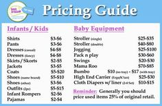 Consignment Sale Pricing Baby Link Pinterest