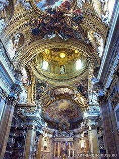 Неф.Церковь Джезу в Риме.   Типичной для стиля итальянского барокко является церковь Джезу, построенная Виньолой в Риме в конце XVI в. Фасад этого сооружения перегружен декоративными деталями, не связанными с конструкцией здания и его функцией.