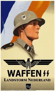 Netherlands, WWII: Freiwillige Panzergrenadier Landstorm Niederlande Waffen-ϟϟ (Recruiting poster for the Dutch Waffen-SS)