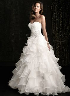 Wedding Dresses - $199.99 - Ball-Gown Strapless Sweetheart Chapel Train Organza Wedding Dress With Lace Beading Cascading Ruffles (00205003519)