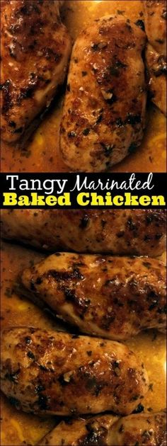 The marinade for this Tangy Baked Chicken has only 6 ingredients and I ALWAYS have them on hand. My husband said this is his new favorite Baked Chicken recipe and my whole family absolutely DEVOURED (Ingredients Recipes Chicken) Baked Marinated Chicken, Best Baked Chicken Recipe, Baked Chicken Breast, Chicken Breasts, Fried Chicken, Chicken Brine, Chicken Meals, Crispy Chicken, Chicken Tenders