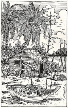 Line Drawing Fishing Village is part of Adult coloring pages - I was clearing my stuff away and I found this piece of drawing done in 1995 when I was in secondary school I am glad I drew it with a waterproof black ink Pilot pen was my favourite back then Coloring Book Pages, Colorful Pictures, Line Drawing, Line Art, Art Drawings, Art Projects, Sketches, Artwork, Secondary School