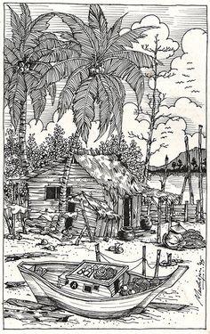 Line Drawing - Fishing Village
