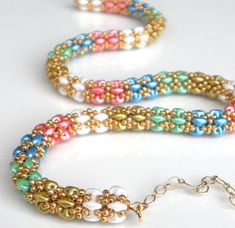 Beadwork Rainbow Striped Rope handmade Necklace pastel by LiBeadi