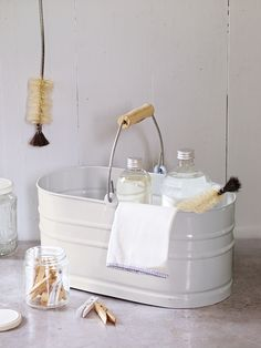 White Utility Storage Bucket - Cox and Cox UK Homeware Uk, Wedding Gift List, Storage Buckets, Cox And Cox, Homekeeping, Spring Cleaning, Green Cleaning, Elegant Homes, Home Organization