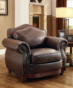 Love this Brighton Traditional Leather Armchair by HomeBelle on #zulily! #zulilyfinds