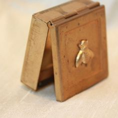 vintage brass bee pill box