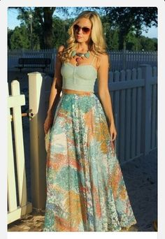 Floral skirt and jean crop top