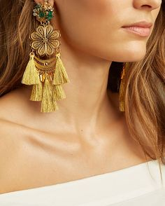 Mercedes Salazar Fiesta Chandelier Earrings: Gold: These tassel and filigree mix chandelier earrings from Mercedes Salazar are indeed fiesta ready. Clip on. 5 long. In gold-tone. Made in ...
