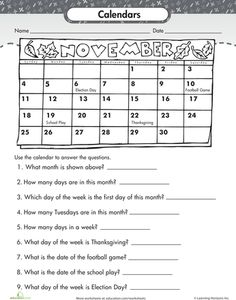 Calendar and Time Measurement - Math Practice Worksheet (Grade 1 ...