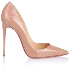 Christian Louboutin So Kate 120 Nude Patent Pump (€560) ❤ liked on Polyvore featuring shoes, pumps, patent leather pumps, christian louboutin shoes, nude pumps, high heel pumps and stilettos shoes