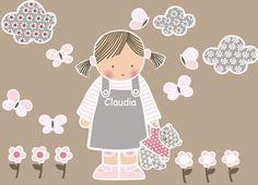Vinilos infantiles: Niña con osito - Vinilo de corte. Piezas que componen esta colección: Niña de frente con osito, 3 nubes, 6 mariposas y 6 flores. Altura de la niña 54 cm.