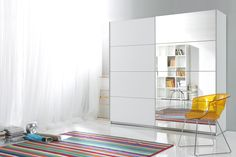 RoomSmart's quality European furniture features innovative small space design, eco-friendly materials, and elegant contemporary styles. Cubby Storage, Storage Spaces, 3 Door Sliding Wardrobe, Modern Sliding Doors, Mirrored Wardrobe, Small Space Design, European Furniture, Hanging Rail, White Paneling