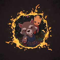 Fan art of 'Rocket' and 'Baby Groot' from 'Guardians Of The Galaxy: Vol 2' (2017)