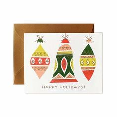 holiday card with illustrated retro ornaments in bright colors