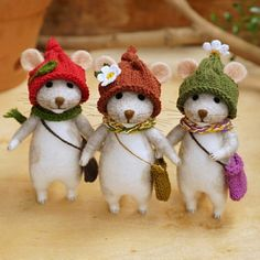 Three needle felted mice.