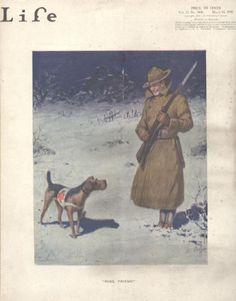 """Pass, Friend"" / Robert Livingston Dickey / c. 1918 / Airedale Terrier"