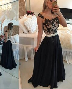 Pearl belt black lace over grey dress