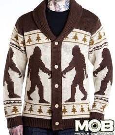 I know it's silly... but I want this SO BAD lol Bigfoot Sasquatch Knit Cardigan – middleofbeyond