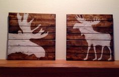 Two Large Sized Moose Silhouette Paintings, rustic cabin decor, pallet style, primitive lodge decor by NCSustainableStyle on Etsy https://www.etsy.com/listing/226584790/two-large-sized-moose-silhouette
