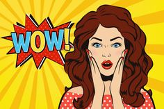 Woman says WOW! by Cheremuha on @creativemarket
