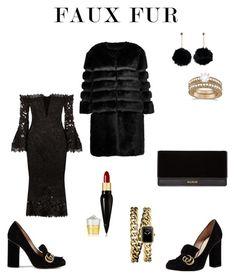 """Faux Fur Elegant Black"" by bliksem-donder on Polyvore featuring mode, AINEA, Nicholas, Gucci, Christian Louboutin, Balmain, Allurez en Chanel"