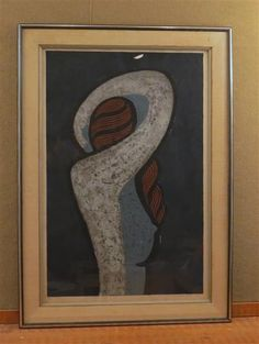 1960's Asian Lithograph Abstract Figure of a Woman