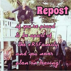 Repost! R5 Family Forever! <3 comment your fav part of the video this pic is in i love the part where ross gets stuck in the slide