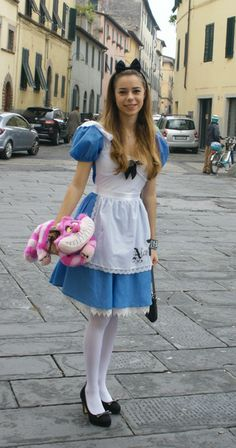 Alice in Wonderland Costume...I love the idea of the lace petticoat showing at the bottom