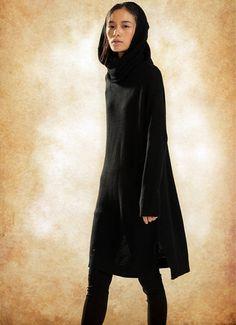 Wool Tunic Dress in Black, Black Sweater Top, Hooded Dress, Hooded Wool Dress, Shift Dress