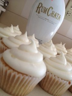 RumChata Cupcakes - Made this, but with 2 whole eggs instead of egg whites, half brown half white sugar, and 3/4 c rumchata 1/4 c spiced rum. Delicious and dense! For frosting, 1 part cream cheese to 1 part soft butter, enough powdered sugar to make it good, a tsp cinnamon, and a shot of rumchata or rum.