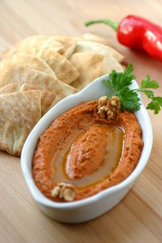 Muhammara - A roasted red pepper spread with a spicy, sweet, tangy, garlicky, and smoky flavor. Lebanese Recipes, Turkish Recipes, Indian Food Recipes, Vegetarian Recipes, Cooking Recipes, Persian Recipes, Arabic Recipes, Romanian Recipes, Scottish Recipes