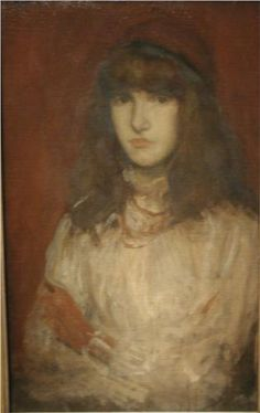 James McNeill Whistler The Red Glove hand painted oil painting reproduction on canvas by artist James Mcneill Whistler, Gabriel, Jules Cheret, Joseph, Freer Gallery, Amber Tree, Art Through The Ages, Red Gloves, Impressionist Paintings
