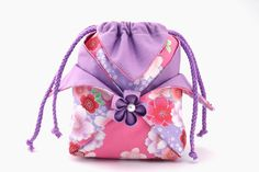 Kimono Coin Purse,Drawstring Bag,Sakura on Pink,Handmade Purple Sukura,Oriental Bags,Quilted Purse,Kimono Purse,Japanese Bag,Pouch,CoinPouch by elegantmolalace on Etsy