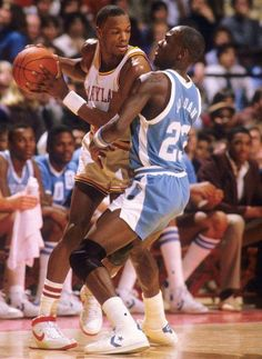 Michael Jordan guards Len Bias during a Jan. 1984 game between Maryland and North Carolina. Len Bias, who died two days after being selected No. 2 overall in the 1986 NBA Draft, would've celebrated his birthday today (Nov. Basketball Jones, Basketball Tricks, Basketball Pictures, Football And Basketball, Sports Pictures, College Basketball, Basketball Players, Basketball Legends, Basketball Diaries