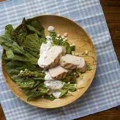 Grilled Chicken and Asparagus Salad with Dilly Farmers Cheese Dressing on Food52