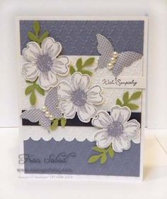 stampersblog: Flower Shop and Butterflies Stamp Sets - Flower Shop, Papillon Potpourri, Teeny Tiny Wishes Card stock - Whisper White, Wisteria Wonder, Elegant Eggplant, Pear Pizzazz Ink - Wisteria Wonder, Elegant Eggplant Etc - Fan embossing folder, Pansy punch, Bird punch, butterfly punch, pearls, Scallop edge punch, Word Window punch #SUO, #FlowerShop. #StampinUp