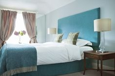 Photo of The Cliff Townhouse - Dublin, Republic of Ireland. Superior Room, Republic Of Ireland, Guest Bedrooms, Townhouse, Curtains, Cliff, Dublin, Blue, Furniture
