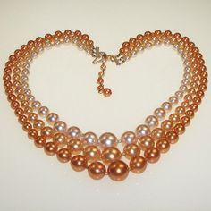 Vintage 1960s Necklace Orange Peach Beaded Multi by 4dollsintime, $23.00