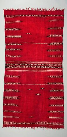 Africa | Woman's ceremonial mantle ~ baqnouq ~ from the Zlass people of the Kairouan region of Tunisia | Wool and cotton | Early 20th century