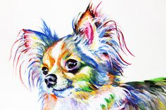 Chihuahua Canvas Print Art Print Dog Poster by ElenTsArt on Etsy