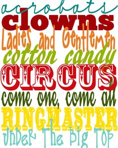 Items similar to Printable Circus Collection Subway Art on Etsy Carnival Classroom, School Carnival, Carnival Birthday Parties, Circus Birthday, Circus Theme, Circus Party, Classroom Themes, Birthday Ideas, Carnival Decorations