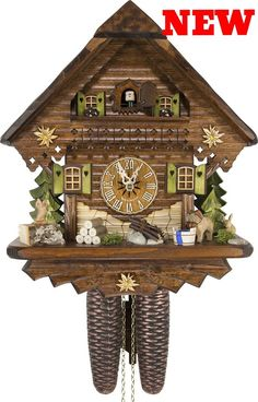 Antique Cuckoo Clock Collectible Rare Summer Chalet House Hang Wood Time Bird UK