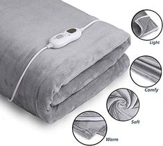 Electric Heated Throw Over Under Blanket Flannel Warm Mattress 3 Heat Settings