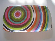 colorful circle platter tray