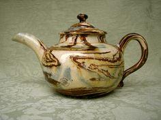 Large Agateware teapot Staffordshire c.1760