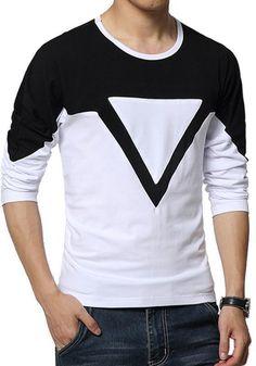 e13f0c94 Men Tshirts Styles · Men Triangle Print Cotton T-Shirt, Black for just  $29.00 #Mens #MensTShirts